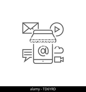 Mobile Marketing Related Vector Thin Line Icon. Isolated on White Background. Editable Stroke. Vector Illustration. - Stock Photo
