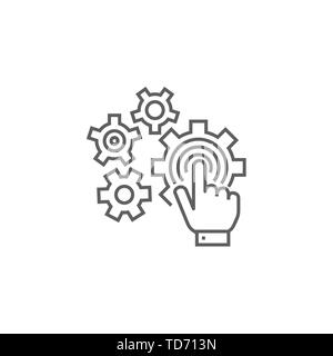 Touchscreen Optimization Related Vector Thin Line Icon. Isolated on White Background. Editable Stroke. Vector Illustration. - Stock Photo