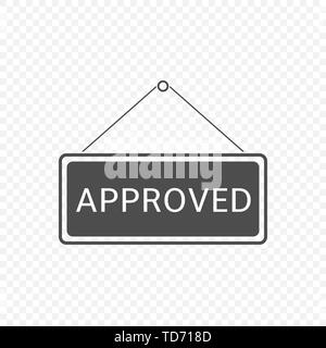 Approved Hanging sign template isolated. Vector illustration - Stock Photo