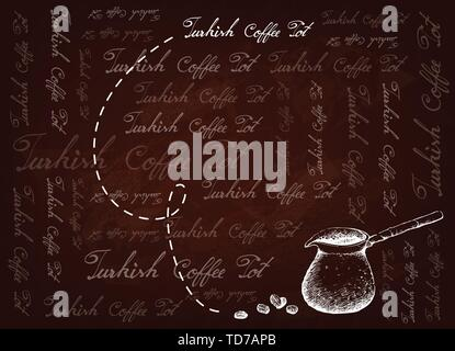 Turkish Cuisine, Turkish Coffee with Cezve or Coffee Pot on Brown Background. One of The Popular Drink in Turkey. - Stock Photo