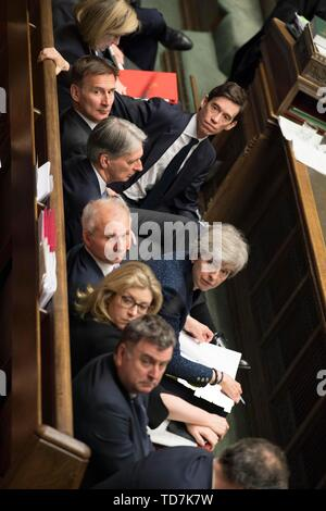 Beijing, Britain. 12th June, 2019. British Prime Minister Theresa May attends the Prime Minister's Questions at the House of Commons in London, Britain, on June 12, 2019. Credit: UK Parliament/Mark Duffy/Xinhua/Alamy Live News - Stock Photo
