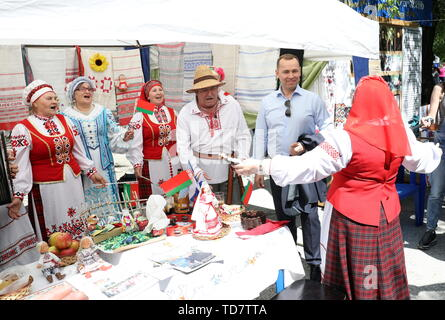 Kurgan, Russia. 12th June, 2019. KURGAN, RUSSIA - JUNE 12, 2019: Kurgan Region Acting Governor Vadim Shumkov takes part in Russia Day celebrations. Alexander Alpatkin/TASS Credit: ITAR-TASS News Agency/Alamy Live News - Stock Photo