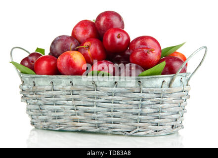 Ripe plums in basket isolated on white - Stock Photo
