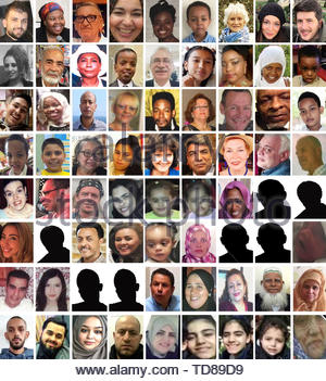 EMBARGOED TO 0001 FRIDAY JUNE 14 EDITORS NOTE: There are no pictures available for the people shown as a sihouette. BEST QUALITY AVAILABLE Undated handout photos of 72 of the confirmed victims who died in the Grenfell Tower fire. (top row left to right) Mohammad Alhajali, Ya-Haddy Sisi Saye, also known as Khadija Saye, Anthony Disson, Khadija Khalloufi, Mary Mendy, Isaac Paulos, Sheila, Gloria Trevisan, Marco Gottardi, (second row left to right) Berkti Haftom, Ali Jafari, Majorie Vital, Yahya Hashim, Hamid Kani, Jessica Urbano Ramirez, Zainab Deen, Nura Jemal, Jeremiah Deen, (third row left to - Stock Photo
