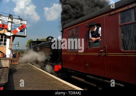 GWR Pannier tank No 7714 leaves Bewdley Station on the Severn Valley Railway. 21st April 2018 - Stock Photo