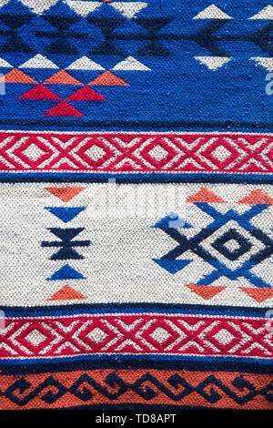 Detail of the traditional Georgian handmade carpet with typical geometrical pattern - Stock Photo