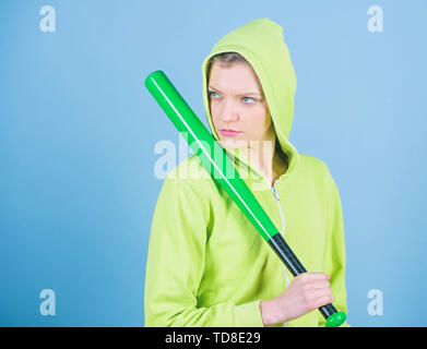 Sport equipment. Athletic fitness. woman workout with baseball bat. Fighting with aggression. aggressive woman with bat. Street life. Sporty girl fighter. Best exercise. Confident fighter. - Stock Photo
