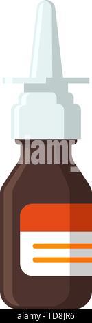 Medical nasal spray bottle for nose rhinitis treatment. Colorful flat medicine pharmaceutical vector eps illustration - Stock Photo