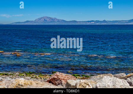 View from Tarifa near Port of Tarifa, Province of Cadiz, Andalusia Spain across the Straits of Gibraltar - Stock Photo