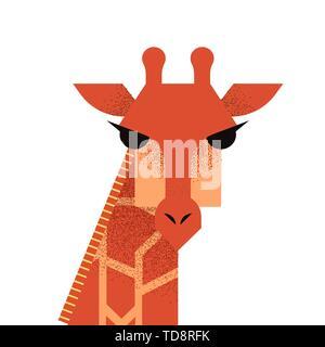 Giraffe animal illustration in flat cartoon style on isolated white background. - Stock Photo