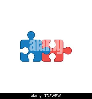 Vector icon concept of two puzzle pieces connected. Colored outlines. - Stock Photo