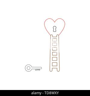 Vector icon concept of love key reach keyhole in heart with wooden ladder. White background and colored outlines. - Stock Photo