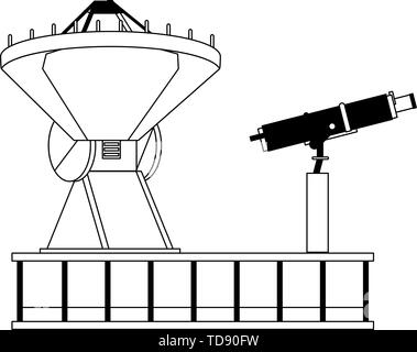 Space satellite and telescope on plataform in black and white - Stock Photo