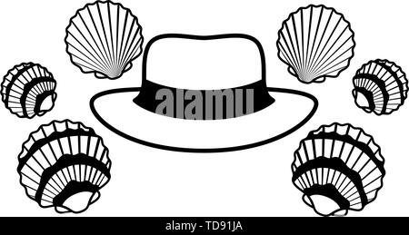 hat with ribbon on white background - Stock Photo