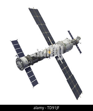 Spacecrafts And Space Station Isolated On White Background. 3D Illustration. - Stock Photo