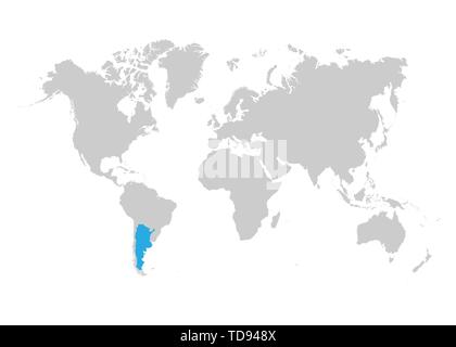 The map of Argentina is highlighted in blue on the world map - Stock Photo