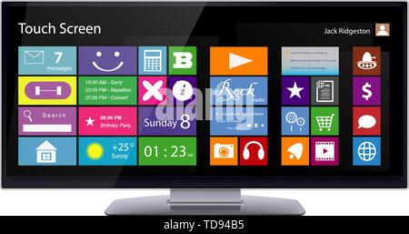 Wide Touch Screen computer monitor with color metro icons on display. Vector illustration isolated on white background. - Stock Photo