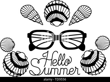 hello summer label with white background - Stock Photo