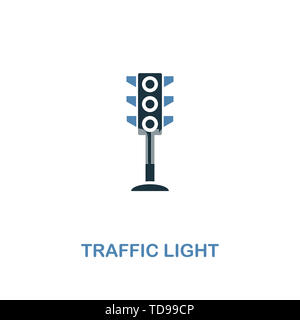 Traffic Light icon in two colors. Creative design from city elements icons collection. Colored traffic light icon for web and mobile design. - Stock Photo