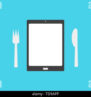 Tablet with a plate and fork and knife. Business concept - Vector - Stock Photo