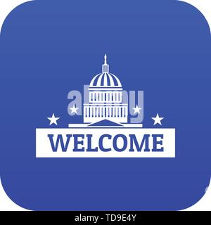 Welcome to USA icon blue vector