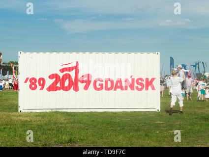 Gdansk, Poland - June 9, 2019: White container with text commemorating the 30th anniversary of first democratic elections in Poland - Stock Photo