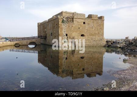 Paphos castle (fort) in paphos harbour kato paphos, Paphos, Cyprus, Europe - Stock Photo