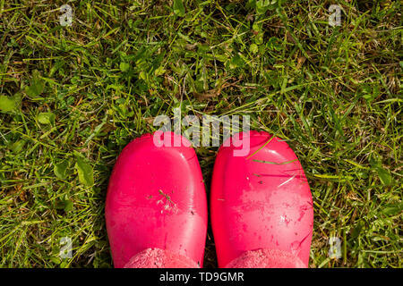 Looking down pink color shoes rubber on grass.woman in rubber boots walking in the rain. girl wearing pink rain boots outside. gumboots on lawn.Copy - Stock Photo