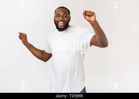 African American hip hop dancer performing isolated over white background. - Stock Photo