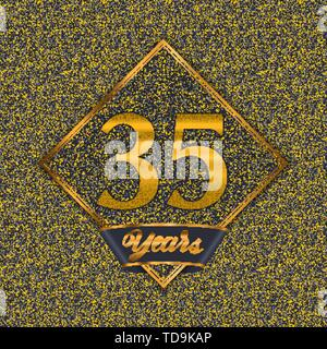 Golden number  thirty-five years (35 years) celebration design. Anniversary golden number with luxury background for your birthday party - Stock Photo