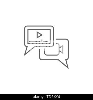 Video Marketing Related Vector Thin Line Icon. Isolated on White Background. Editable Stroke. Vector Illustration. - Stock Photo