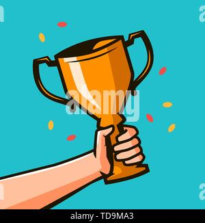 Hand holding winner's trophy award. Winning Gold cup in hands - Stock Photo
