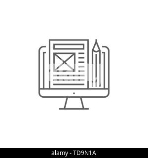 Blog Management Related Vector Thin Line Icon. Isolated on White Background. Editable Stroke. Vector Illustration. - Stock Photo
