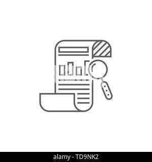 SEO Report Related Vector Thin Line Icon. Isolated on White Background. Editable Stroke. Vector Illustration. - Stock Photo