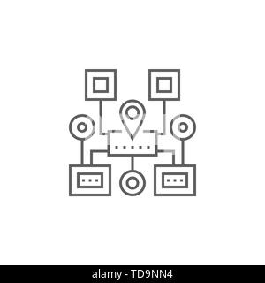 Sitemap Navigation Related Vector Thin Line Icon. Isolated on White Background. Editable Stroke. Vector Illustration. - Stock Photo