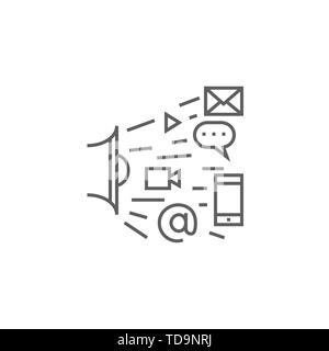 Marketing Related Vector Thin Line Icon. Isolated on White Background. Editable Stroke. Vector Illustration. - Stock Photo