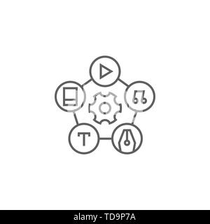 Content Management Related Vector Thin Line Icon. Isolated on White Background. Editable Stroke. Vector Illustration. - Stock Photo