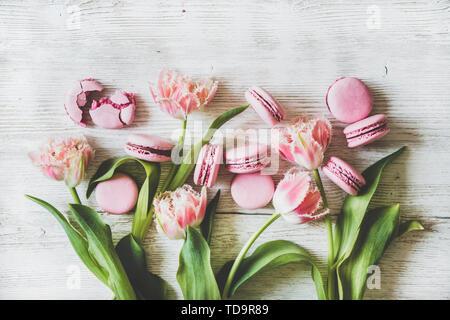 Sweet pink macaron cookies and spring fresh tulip flowers