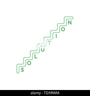 Vector icon concept of stairs with solution word with one letter per step. White background and colored outlines. - Stock Photo
