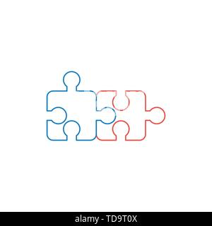 Vector icon concept of two puzzle pieces connected. White background and colored outlines. - Stock Photo