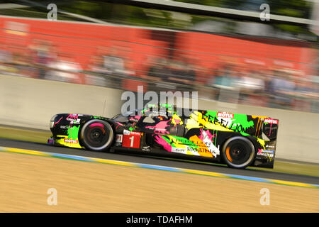Le Mans, Sarthe, France. 13th June, 2019. Rebellion Racing R13 Gibson rider ANDRE LOTTERER (GER) in action during the 87th edition of the 24 hours of Le Mans the last round of the FIA World Endurance Championship at the Sarthe circuit at Le Mans - France Credit: Pierre Stevenin/ZUMA Wire/Alamy Live News - Stock Photo