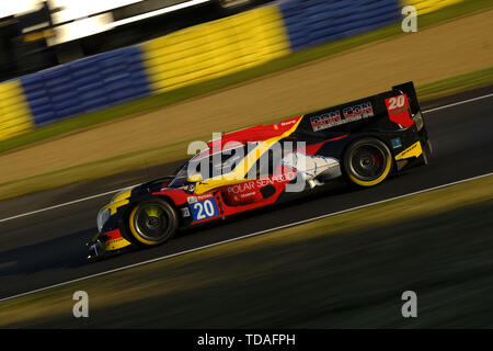 Le Mans, Sarthe, France. 13th June, 2019. High Class Racing Oreca 07 Gibson rider ANDERS FJORDBACH (DEK) in action during the 87th edition of the 24 hours of Le Mans the last round of the FIA World Endurance Championship at the Sarthe circuit at Le Mans - France Credit: Pierre Stevenin/ZUMA Wire/Alamy Live News - Stock Photo