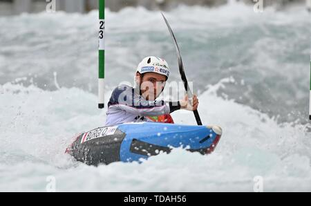 Lee Valley, Hertforshire, UK. 14th June, 2018.  Quentin Burgi (FRA). 2019 ICF London canoe slalom world cup. Lee valley white water centre. Mens K1 Kayak. Hertfordshire. UK. 14/06/2019. Credit: Sport In Pictures/Alamy Live News - Stock Photo
