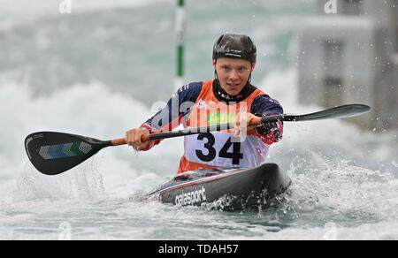 Lee Valley, Hertforshire, UK. 14th June, 2018.  Christopher Bowers (GBR). 2019 ICF London canoe slalom world cup. Lee valley white water centre. Mens K1 Kayak. Hertfordshire. UK. 14/06/2019. Credit: Sport In Pictures/Alamy Live News - Stock Photo