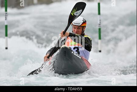 Lee Valley, Hertforshire, UK. 14th June, 2018.  Tim Maxeiner (GER). 2019 ICF London canoe slalom world cup. Lee valley white water centre. Mens K1 Kayak. Hertfordshire. UK. 14/06/2019. Credit: Sport In Pictures/Alamy Live News - Stock Photo