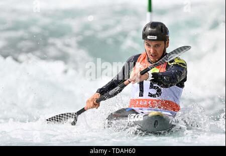 Lee Valley, Hertforshire, UK. 14th June, 2018.  Michal Pasiut (POL). 2019 ICF London canoe slalom world cup. Lee valley white water centre. Mens K1 Kayak. Hertfordshire. UK. 14/06/2019. Credit: Sport In Pictures/Alamy Live News - Stock Photo