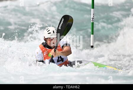 Lee Valley, Hertforshire, UK. 14th June, 2018.  Daniel Watkins (AUS). 2019 ICF London canoe slalom world cup. Lee valley white water centre. Mens K1 Kayak. Hertfordshire. UK. 14/06/2019. Credit: Sport In Pictures/Alamy Live News - Stock Photo
