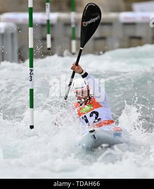 Lee Valley, Hertforshire, UK. 14th June, 2018.  Martin Dougoud (SUI). 2019 ICF London canoe slalom world cup. Lee valley white water centre. Mens K1 Kayak. Hertfordshire. UK. 14/06/2019. Credit: Sport In Pictures/Alamy Live News - Stock Photo