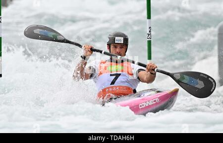 Lee Valley, Hertforshire, UK. 14th June, 2018.  Lucien Delfour (AUS). 2019 ICF London canoe slalom world cup. Lee valley white water centre. Mens K1 Kayak. Hertfordshire. UK. 14/06/2019. Credit: Sport In Pictures/Alamy Live News - Stock Photo