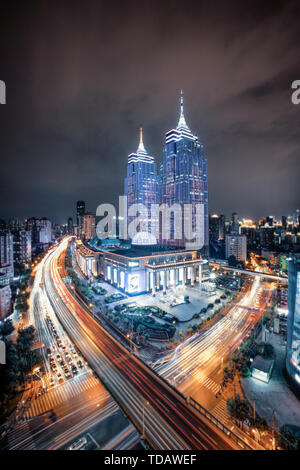 Night view of the landmark building of the Global Port in Putuo District, Shanghai - Stock Photo